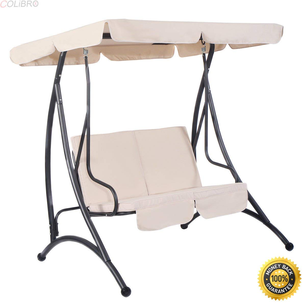 Beau Get Quotations · COLIBROX  Beige 2 Person Canopy Swing Chair Patio Hammock  Seat Cushioned Furniture Steel,