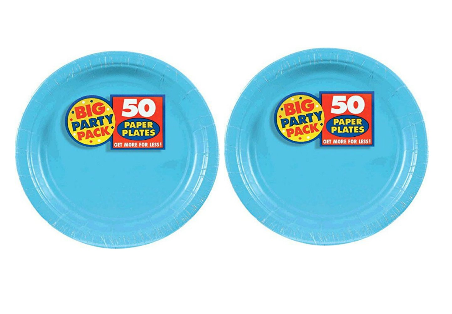 Amscan Big Party Pack 50 Count Paper Dessert Plates Value 2-Pack (100 count total), 7-Inch, Caribbean