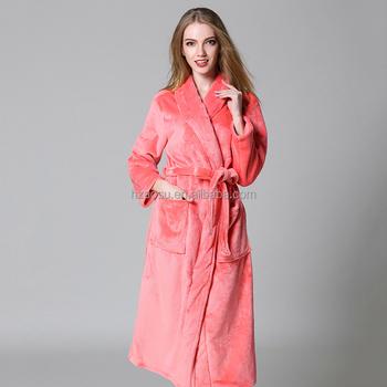 Women s Fleece Robe Full Length Long Sleeve Fluffy Bathrobe - Buy ... 3d25f99d36