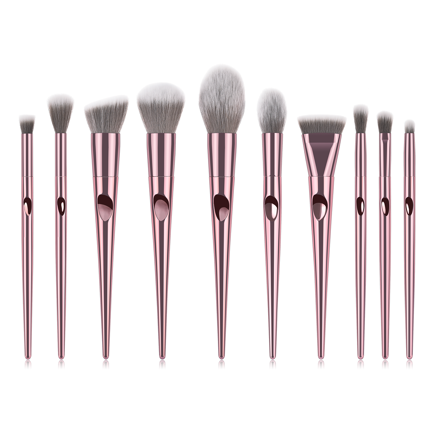 new high quality your logo father finger rose gold makeup brush set 10pcs