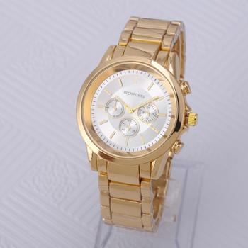 Fashion Gold Stainless Steel Band 3 hands Mens Watch Business Special Style
