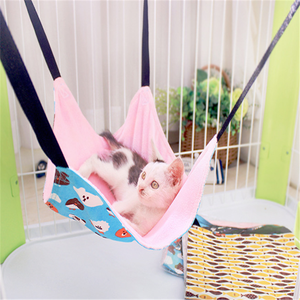Double-sided cartoon printing cat hammock soft suede pet hanging bed cushion