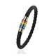 Rainbow PU Leather Bracelets Bangles For Men Gold-color Stainless Steel Magnet Clasp Gay Pride Braclet Men Jewelry
