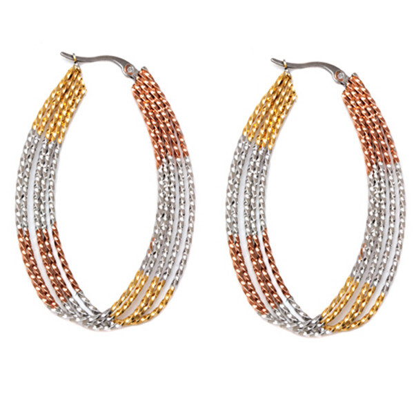 Yiwu Aceon Stainless steel 5 strand tri color oval shaped hoop earring