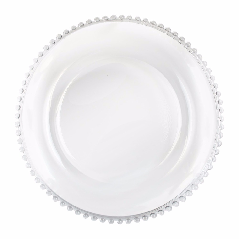 PZ38830 clear beaded glass charger sets dinner plates for wedding