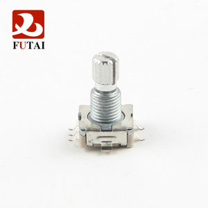 Futai EC11 series 11mm Size Type SMT Reflow Incremental Metal Shaft Rotary Encoder with Switch and Bushing