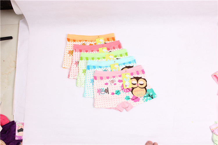 TG-48 10pcs/lot Cute underwear baby Girls Sweet design Cotton boxer Underwear children cute cartoon owl panties (2-10 years)