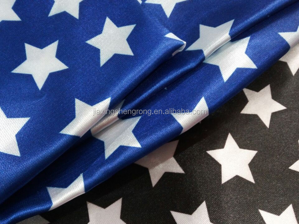 Promotion New design widely Used 100%polyester Satin Fabric Printing star pattern for Girls Dress