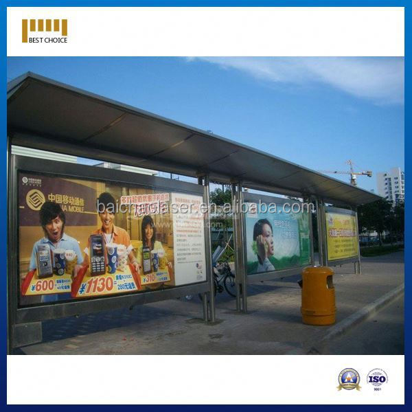 advertisement in bus stop shelter, outdoor floor mounted secure bike sheds