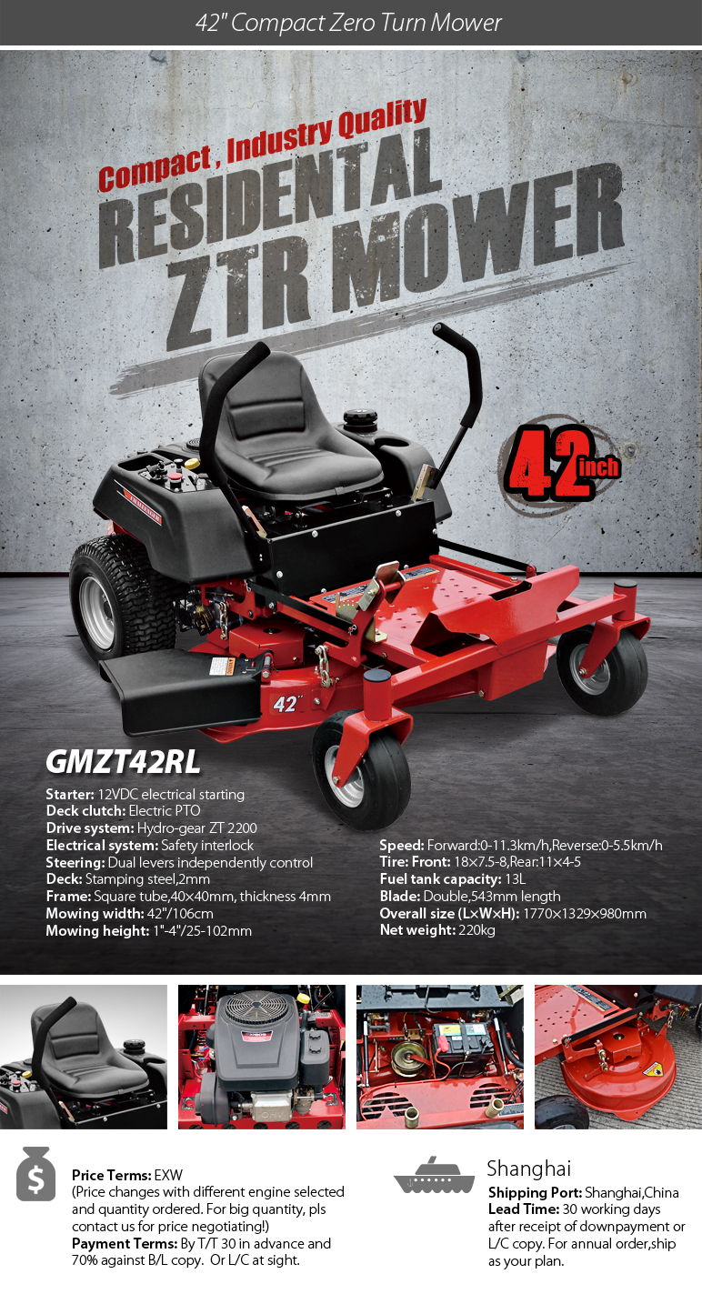 best price zero turn mower 42 inch with Loncin engine and compact deck,  View zero turn mower, GREENMAN Product Details from Greenman Machinery  Company