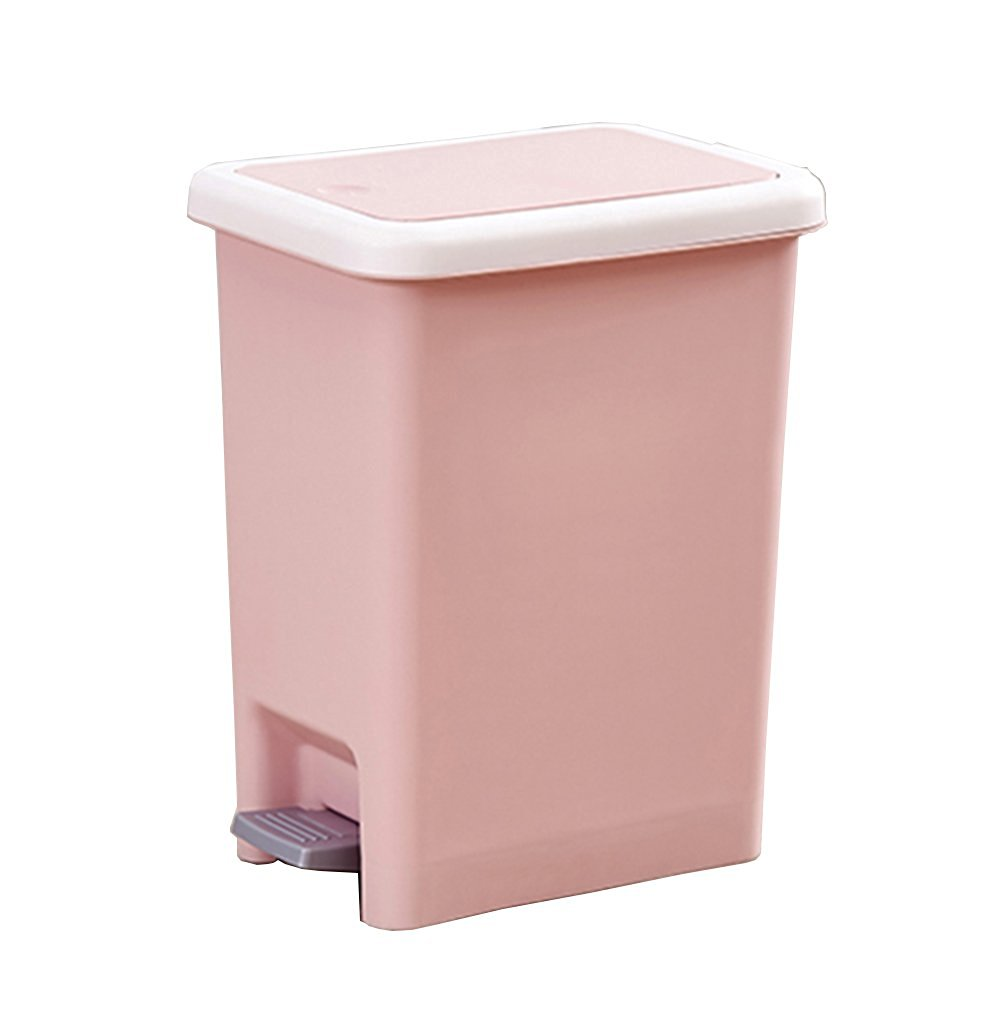 Hflove Creative Snap Button Closing Plastic Trash Can Office Plastic  Wastebasket,10L (Pink