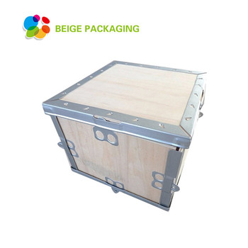 Collapsible custom storage wooden crate steel strip plywood box