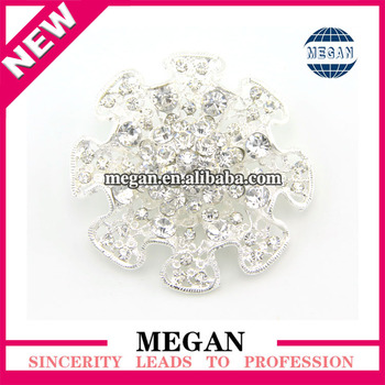 Round Shaped Crystal Bride Jewelry Flower Cheap Alloy Brooch For ...