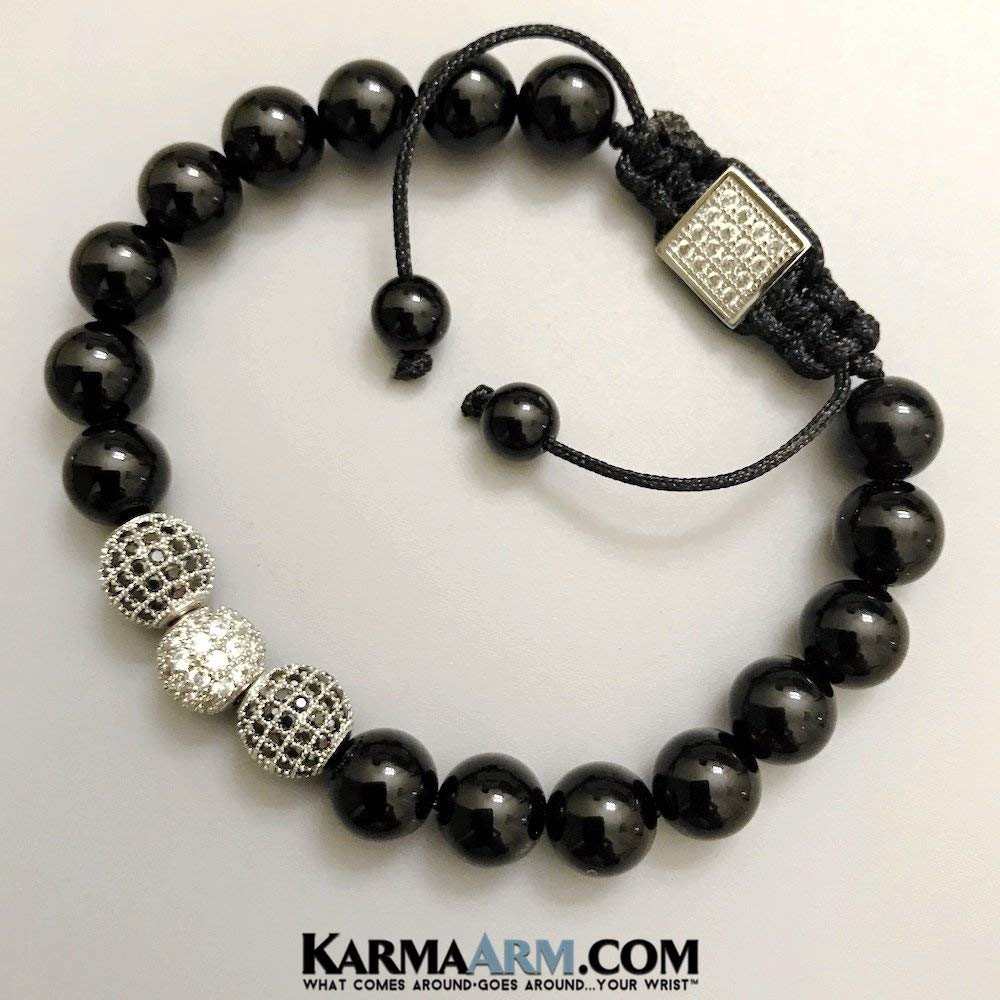 HAPPINESS: Black Onyx | CZ Diamond Pave Balls Yoga Chakra Bracelet Yoga Jewelry, Reiki Healing Bracelets Meditation Jewelry Beaded Bracelets Stretch Bracelets