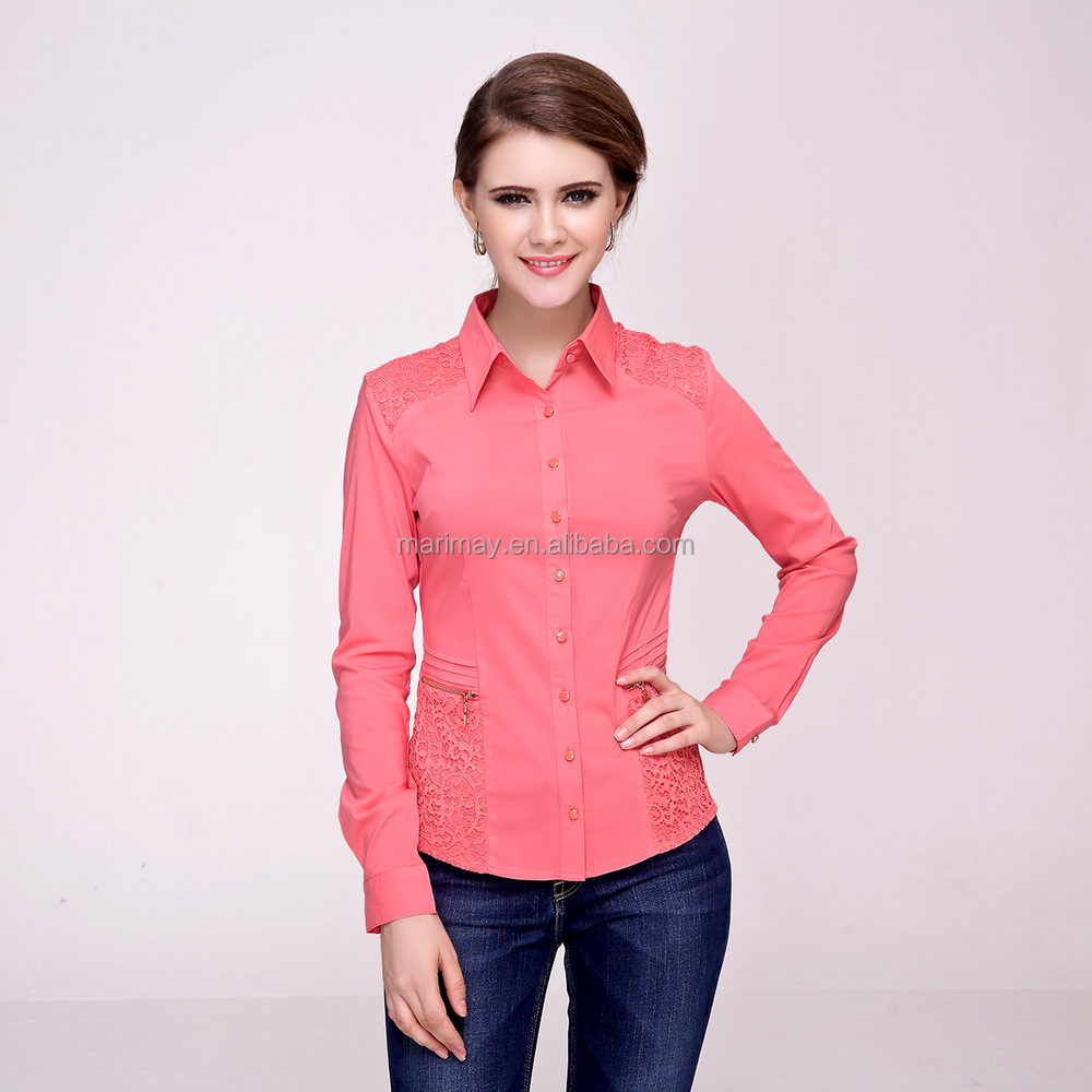 Shirt design ladies - Factory Price Best Quality Ladies Shirt Design For Autumn Chinese Collar Blouse Wholesale Clothing Www