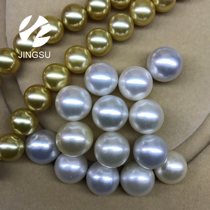 natural white color undrilled loose south sea pearls in perfect round shape