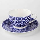 Chinese Bone China Coffee And Tea Cup Set With Emboss Geometry Decoration