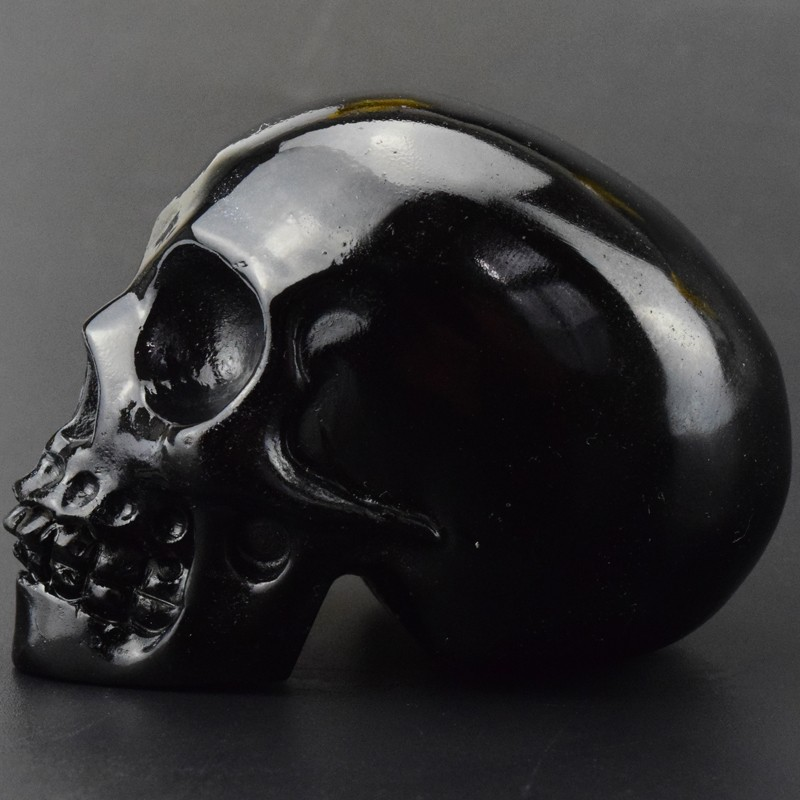 Decor skull, 3 inch natural carved Black obsidian crystal skull for bar decor