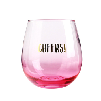 Egg Shape Stemless Pink Wine Glasses
