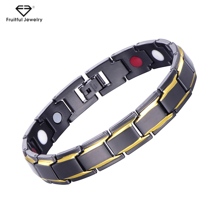 De alta Qualidade Da Moda OEM/ODM Hematita Cura de Aço Inoxidável Magnético Destacável Homem Pulseiras de Saúde
