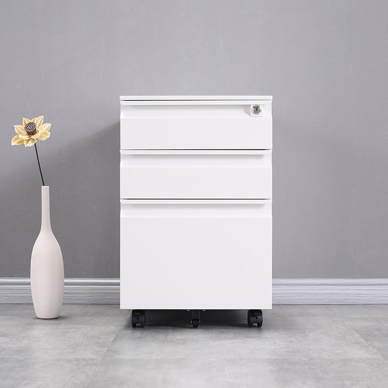 Modern Style Office Cabinet 3 Drawers Metal Mobile Pedestal Fireproof Waterproof File