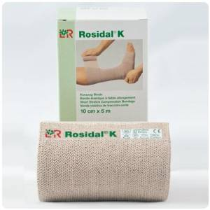 "Rauscher Rosidal K Short Stretch Bandage - 11 yds (10m) long, 3.93"" (10cm), Single Roll, Beige"