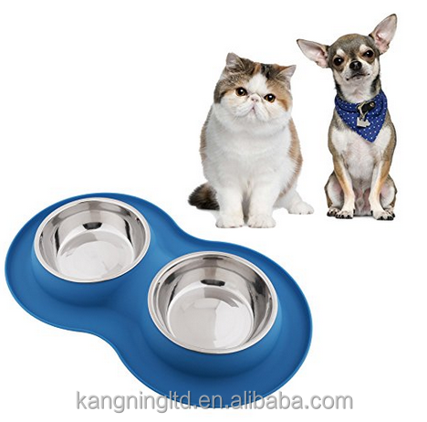 Premium Quality Double Dog Bowl Pet Feeding Stainless Steel Water and Food Bowls with Non Skid Non Spill Silicone Mat