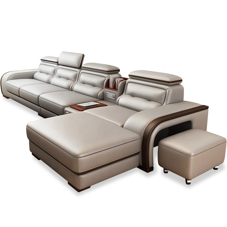 Modern genuine leather or Faux Leather corner sofa set 7 seater sectional l shaped combination sofa and couch
