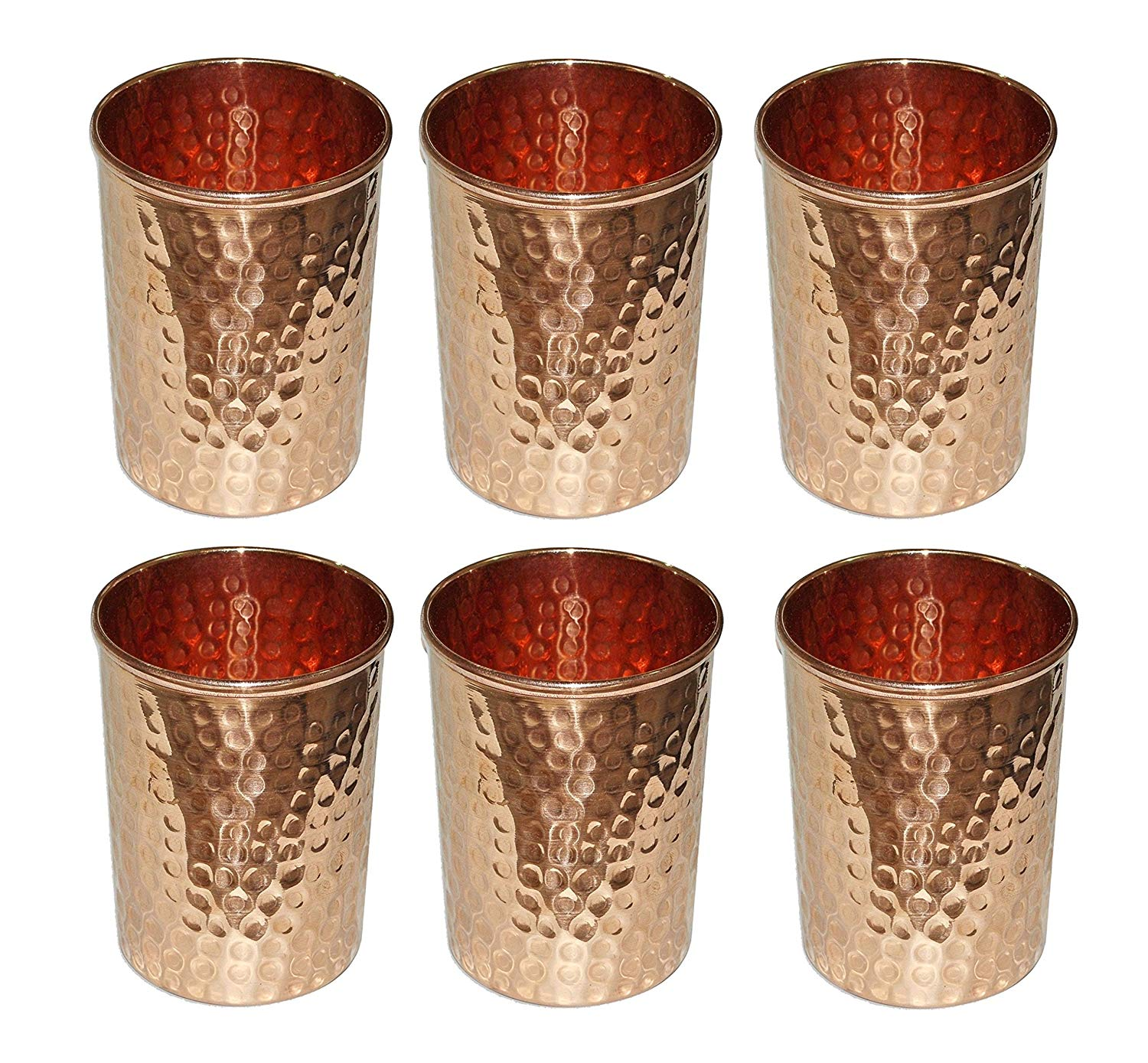 Set of 2 Pure Copper Drinkware Hammered Tumbler Water Glass Tableware Drinking Accessories for Ayurvedic Health Benefits