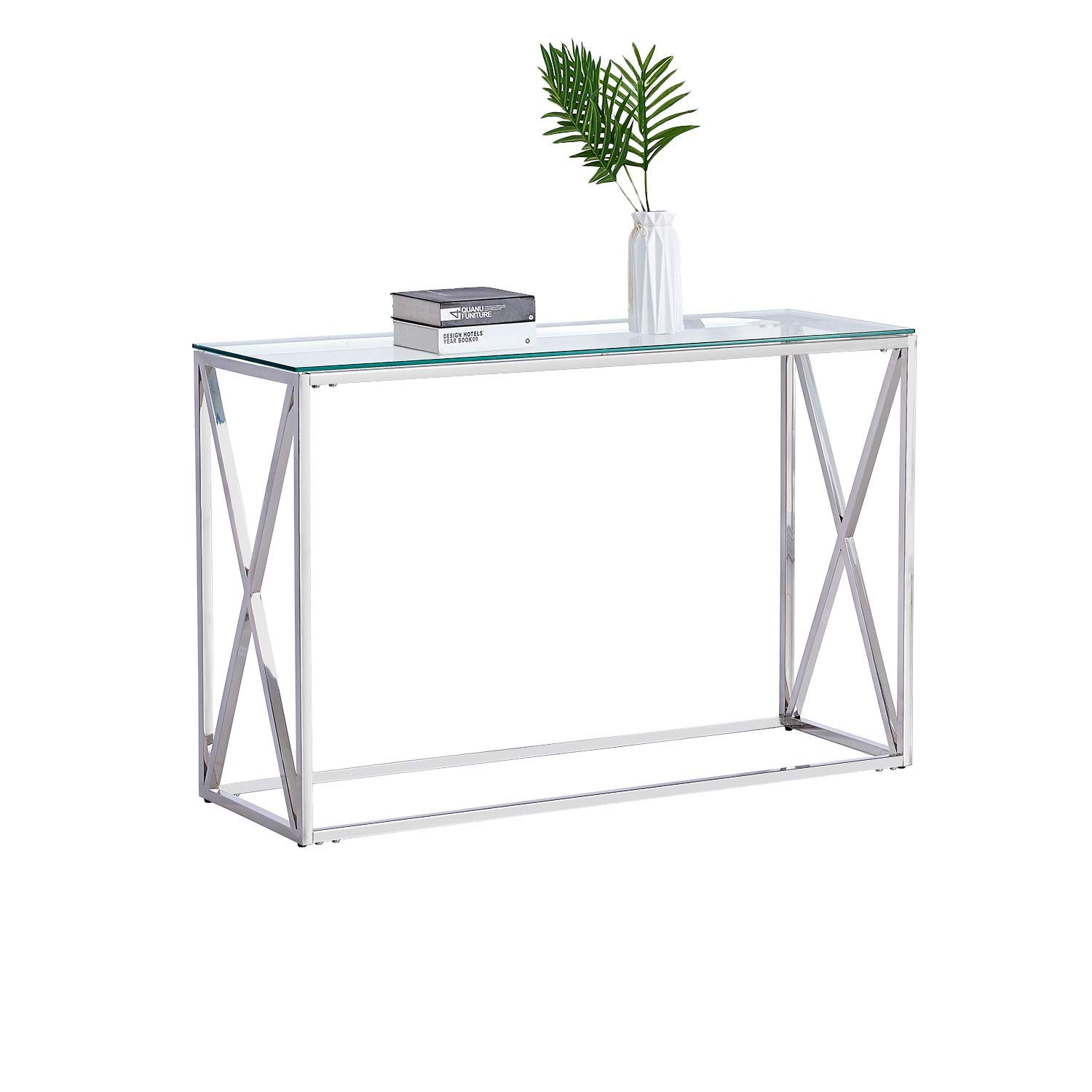 Trustiwood Modern Console Table, Entryway Table, Clear Glass Top Sofa Table for Living Room Entryway Hallway Steel Base, Easy Assembly,Silver