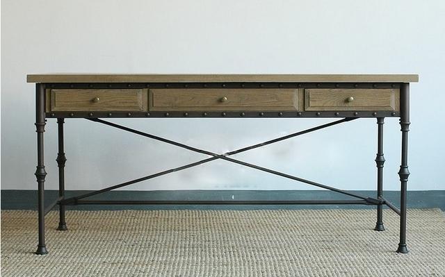 bureau bois et fer. Black Bedroom Furniture Sets. Home Design Ideas