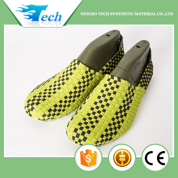 Color changing hand knit elastic upper for shoes part