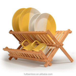 Bamboo Dish Rack Collapsible Dish Drainer, Foldable dish drying rack bamboo Plate Rack