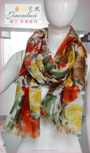 illusion flower printing cotton and flax fabric fashion scarf