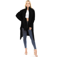 2018 European Fashion Winter Coats Warm And Thick Ladies Extra Long Cardigan Sweater Coat Shawl Collar Black Cardigan