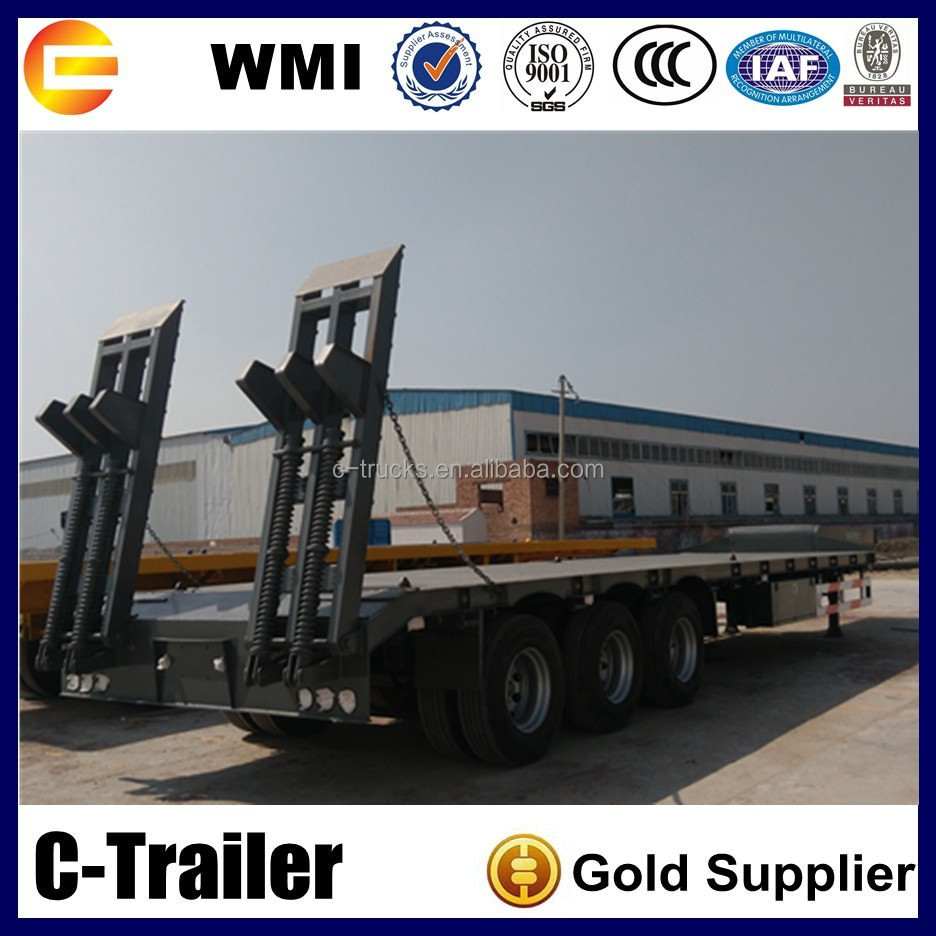 China Lowest Price 60Ton Lowboy Trucks Low Bed Semi Trailer