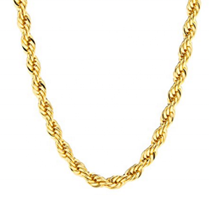 high quality 18k gold chain IP plated rope chain necklace dubai new gold chain design for men(CH-007)