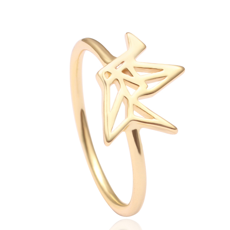 Hollow 14K/18K Gold Tiny Paper Crane Fashion Ring Midi Knuckle Rings for Hope and Love Symbol Jewelry