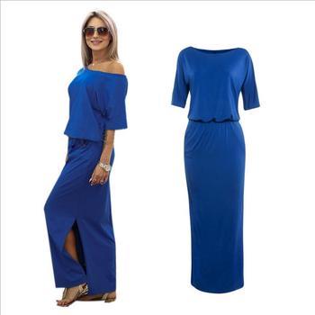 2400e735366d Amazon hot sale women summer split side maxi dress sloping shoulder loose  prom dress for ladies