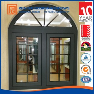 Hurricane Proof Tempered Glass Aluminum Arch Window