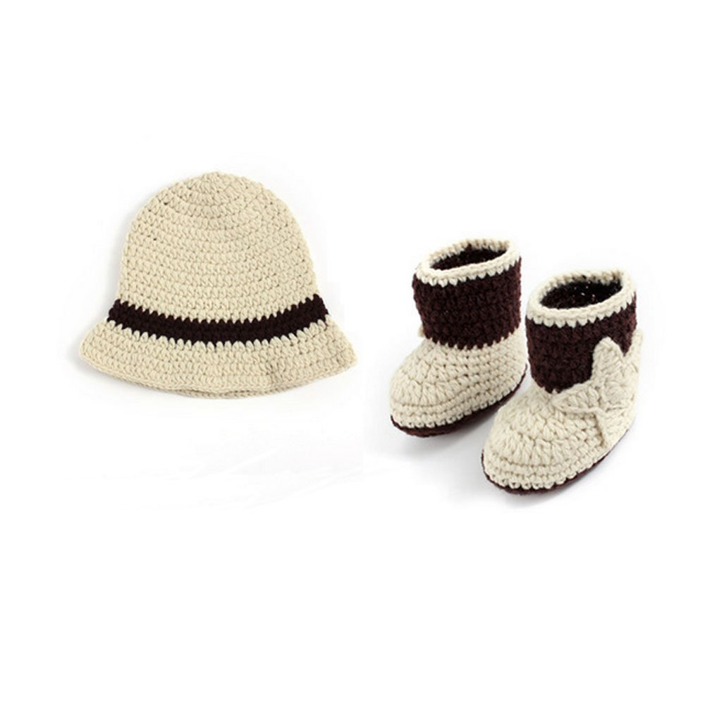 ceebbe5c Get Quotations · Baby Photography Props Outfits Cowboy Hat Boots Crochet Costume  Set 0-3 Months