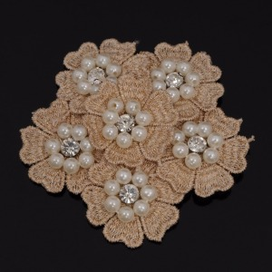 Handmade 3d embroidery rhinestone flower and pearl beads