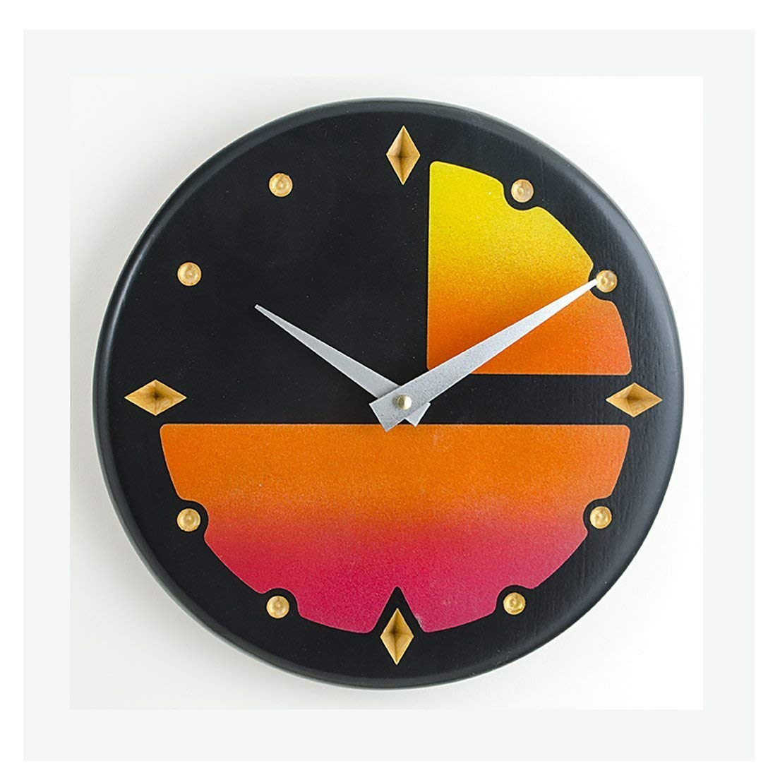 Contemporary 10 inch wall or kitchen clock. Solid maple wood, painted black, with bright ombre color block design.