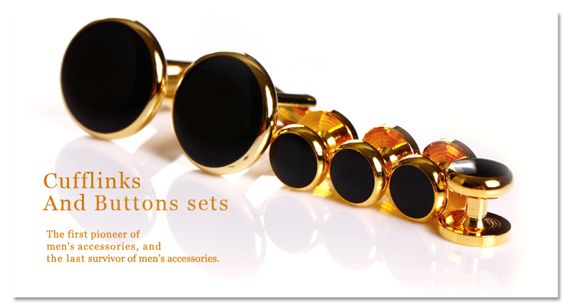 Fashion Gold plated Men's Metal Buttons Cufflinks and Buttons sets Enamel Shirt Studs