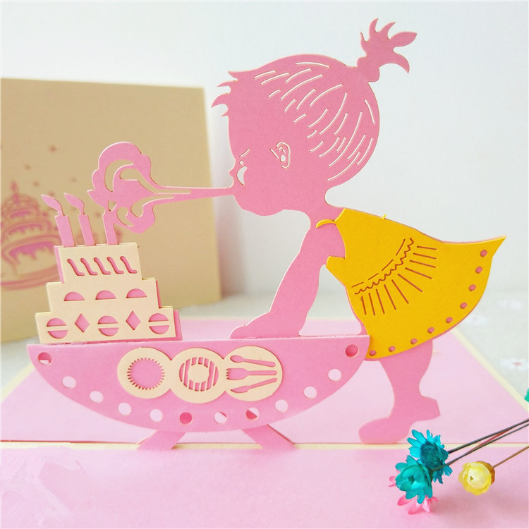 Custom Printed 3D Little Girl Baby Shower Invitations Pop Up Happy Birthday Greeting Cards