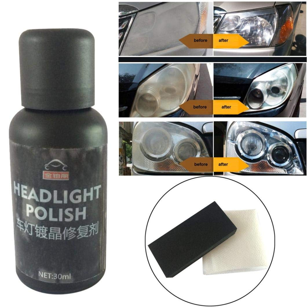 Car Headlights Oxidation Liquid Ceramic Coat Set Super Hydrophobic Glass Coating High Gloss Car Maintenance Accessories for Safe Driving Gessppo(Brown)