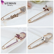 Unique Hijab Pins Gold plated Safety Pin Brooch Fashion Luxury Rhinestone Brooches For Suit Scarves Corsage Sweater Collar