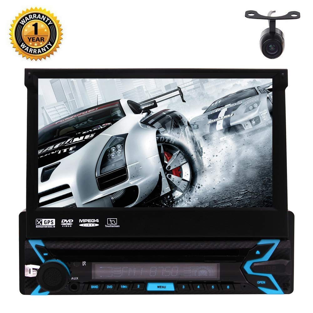 EinCar 7 inch Single Din Car GPS Navigation DVD Player HD Retractable Touch Screen Car Stereo in Dash Navigation FM/AM Radio SWC Bluetooth WiFi 1080P Video with Rear View Camera