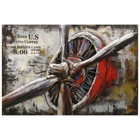 Boeing Machine Picture Iron Art Sculpture Handmade Painting 3D Metal Wall Decor for Bar Office Hotel Home