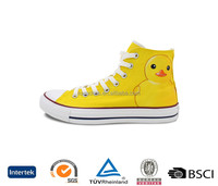 usa stylish style cheap price sell online unisex yellow lace up cute print high top canvas plimsolls shoes for men